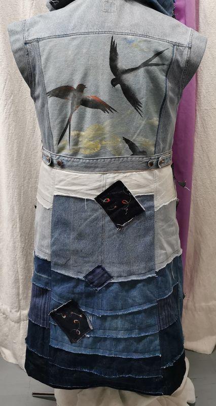 Veste jeans transformée dos